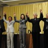 five-party coalition gov't with 299 seats
